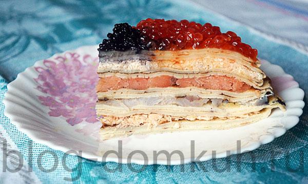 Блинный пирог рецепт с рыбой 73