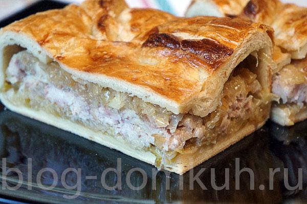 Пирог с рыбой и капустой из слоеного теста рецепт