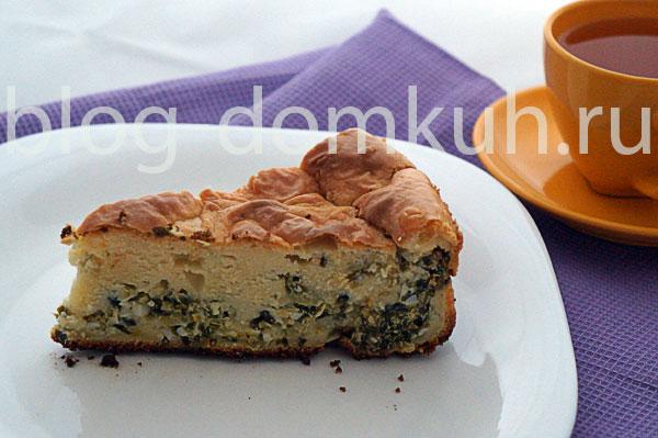 Пирог заливной с луком и яйцами